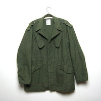 70s Army coat. Green Parka jacket.