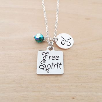 Free Spirit Charm Swarovski Birthstone Initial Personalized Sterling Silver Necklace / Gift for Her - Free Spirit Necklace