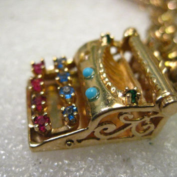 Vintage 14kt Gold Typewriter Charm, Pendant with Gemstones, I Love You , 7.49 gr., 1""