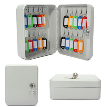 20 Hook Metal Wall Mount Security Key Cabinet Storage Box With Key Tag