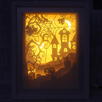 Silhouette Dandelion paper cut Light box Night light Accent Lamp Easter Day gift idea shadow box