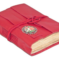 Red Leather Journal with Tea Stained Paper and Cameo Bookmark - Ready to ship