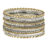 Set Of 14 Mixed Metal Bangles - Mixed Metal