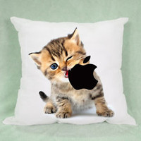 Cat Eat iPhone Apple Logo High Quality Pillow Case Cushion 16 18 20 2 Side Cover