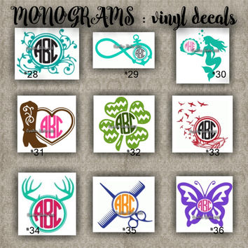 MONOGRAM vinyl decals | name | initial | decal | sticker | car decals | car stickers | laptop sticker - 28-36