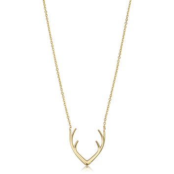 14k Yellow Gold Antler Adjustable Necklace, 18""