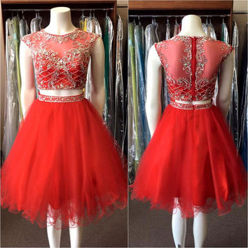 Red Sexy Cute Two 2 Pieces Juniors Short Cocktail Party Dresses Knee Length Beaded Crystals Tulle Sparkly Prom Cocktail Dresses