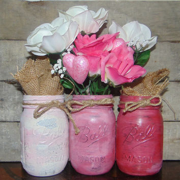 Mason Jars Hand Painted for Valentine's Day / Gift for Her / Home Decor / Love
