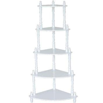 Victorian-Inspired 5-Tier Corner Stand Shelving Rack Home Office Furniture White