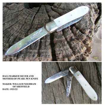 Hallmarked Silver and Mother-of-Pearl Pen Knife, Double Blade, Vintage 1921/22, William Needham of Sheffield