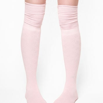 K. Bell Daisy Textured Over The Knee Socks - Pink