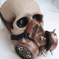 STEAMPUNK Chemical Nuclear Fall Out Biological Warfare Respirator Gas Mask with Spikes-A BURNING MAN Must Have - Distressed Copper Rust Look