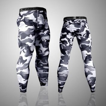 Fitness Men Running Tights Printed Jogger Pants Sports Leggings Pro Compression Sportswear Plus Sizes Athletic Trousers