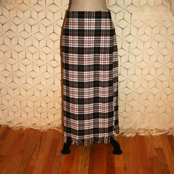 Plaid Wrap Skirt Fringe Blanket Skirt Long Plaid Skirt Wool Maxi Skirt Tartan Skirt Red Black White Size 12 Skirt Large Womens Clothing