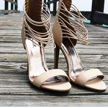 Unforgettable Night Textured Matte Alligator Print Strappy Nude Heels