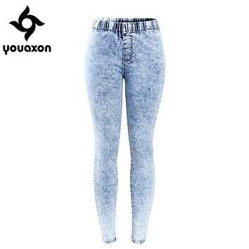 2129 Youaxon New Plus Size Ultra Stretchy Acid Washed Jeans Woman Denim Pants Trousers For Women Pencil Skinny Jeans