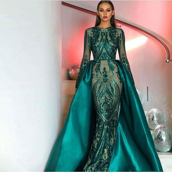 Luxury Turquoi Sequined Appliques Mermaid Dress With Detachable Train Full O-Neck Floor-Length Prom Gowns Vestidos De Festa