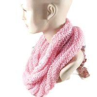Hand Knit Soft Pink Infinity Scarf or Hooded Cowl