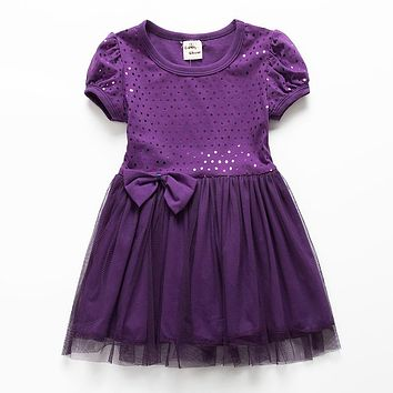 Girl Dress 2018 New Summer Formal Style Bowknot Color Solid Tutu Mesh Dress for Girls Clothes 18M-5Y