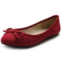 Ollio Women's Shoe Ballet Pleat Faux Suede Ribbon Comfort Flat