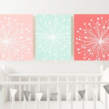 Coral Mint Nursery Decor, DANDELION Wall Art, Dandelion Decor, Coral Mint Ombre Bedroom Pictures, CANVAS or Print Set of 3 Wall Decor