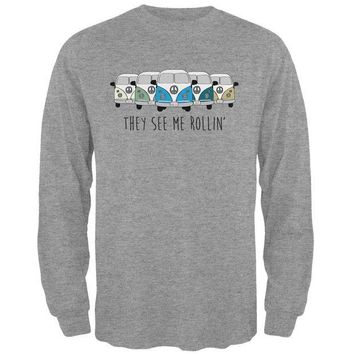 DCCKIS3 Hippie Van They See Me Rollin' Bus Camper Mens Long Sleeve T Shirt