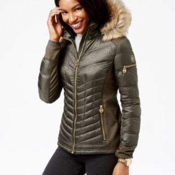 MICHAEL Michael Kors Faux-Fur-Trim Quilted Down Coat | macys.com