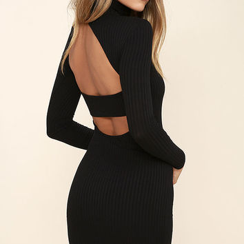 Party Goer Black Long Sleeve Bodycon Dress