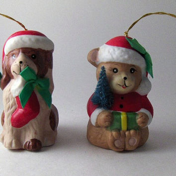 Vintage Bell Collectible Bisque Porcelain Christmas Bell Ornaments: Dog and Teddy Bear Bell