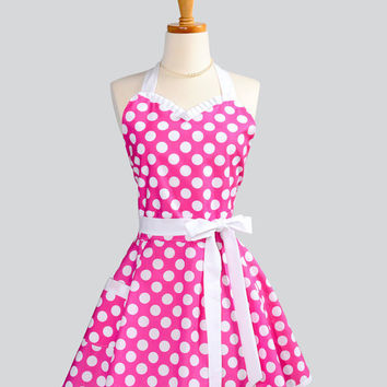 Womens Flirty Sweetheart Apron - Retro Pin-up Ruffles Hot Pink and White Large Polka Dot