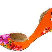 LUCY ORANGE FLORAL D'ORSAY POINTED KITTEN HEEL