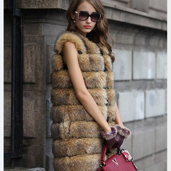 Women fur vest sleeveless vest winter jacket fur vest coat