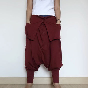 Harem Ninja Pants, Trousers unique Cotton Jersey In Maroon.