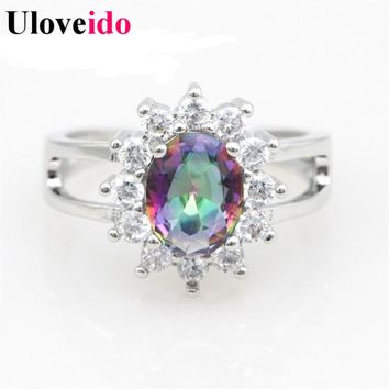 Uloveido 7 Colors Rings for Women Wedding Ring Female Engagement Rainbow Bijouterie Mystic Rings with Stones Silver Color Y050