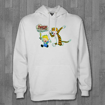 adventure time with calvin and hobbes hoodie unisex adults.