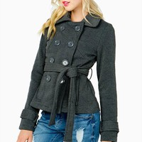 Belted Double Breasted Fleece Peacoat