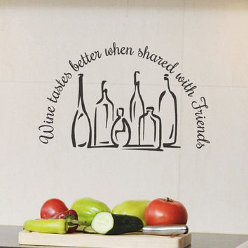 Wine Decal Decor Words Wine Tastes Better when by HouseHoldWords