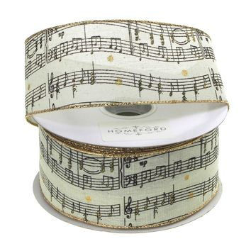 Musical Notes Gold Edge Canvas Wired Ribbon, Cream, 1-1/2-Inch, 20 Yards