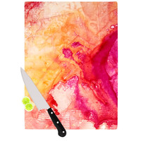 "Malia Shields ""Color River IV"" Orange Pink Cutting Board"