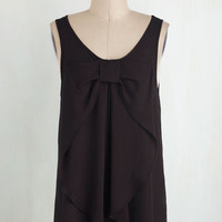 Film Noir Long Sleeveless Hello, Bow! Top in Onyx