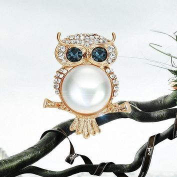 Vintage Gold Owl Designed Jewelry Inlay Pearls Rhinestones Brooch Pin Jewelry