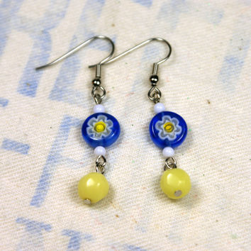 Blue and Yellow Glass Bead Millefiori Earrings White Flower Floral Dangle Vintage Silver Unique Handmade Jewelry by o2designs