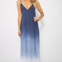 Faded Sky Dress - Ombre Blue Gradient Maxi Dress