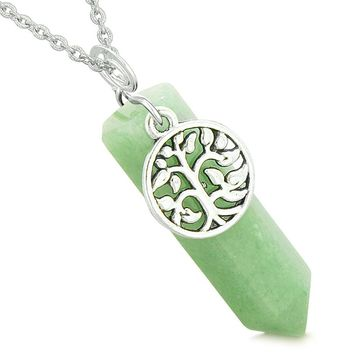 Magical Tree of Life Energy Amulet Lucky Crystal Point Green Quartz Pendant 22 Inch Necklace