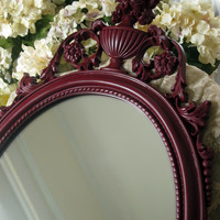 Victorian Wall Mirror - Dark Red Mirror - Painted Wall Mirror - Large Wall Mirror - Oval Mirror - Vintage Mirror - Syroco Wood Mirror