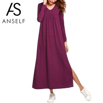 2019 Autumn Fashion Long Sleeves Maxi Dress Women Casual Dresses Loose Long Gowns Solid Color Ruched V-Neck Elegant robe female