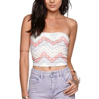 Kendall & Kylie Strapless Smocked Band Top - Womens Tees - Multi - Medium