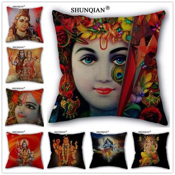Y517-10 New arrival Custom Pillowcase Lord Krishna Style Cotton Linen One Side home Classical Pillow Covers 45x45cm