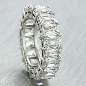 4.31ct G-H VS1 Platinum Emerald Cut Diamond Eternity Wedding Band Ring