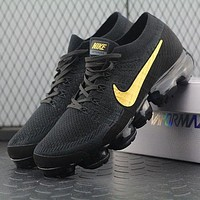 Nike Air Vapormax Vapor Max 2018 Flyknit Men Black Gold Sport Running Shoes Aa3851-107 - Beauty Ticks